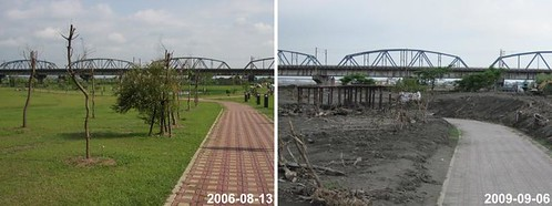 Gaoping Riverside, Before and After Typhoon Moroak