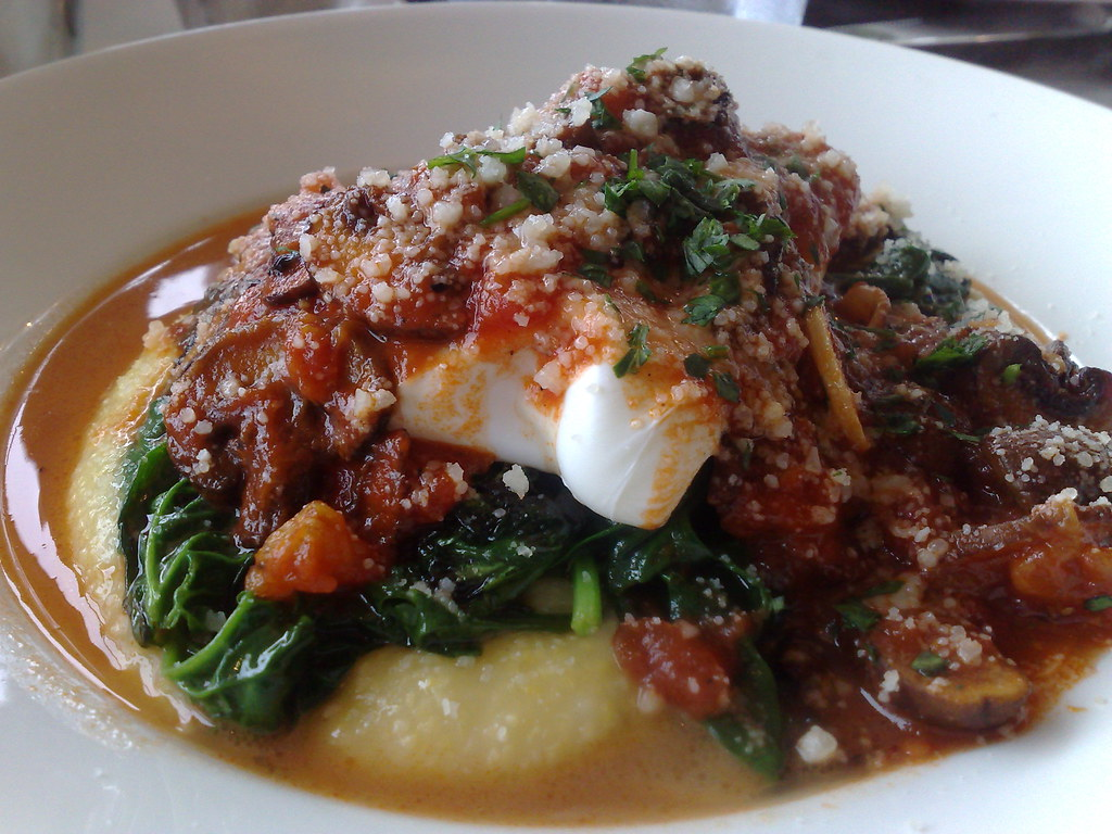 Poached Eggs over Polenta with Spinach and Wild Musrooms in Marinara Sauce