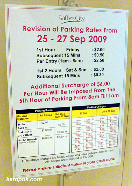 Parking Rates at Raffles City Shopping Center for F1