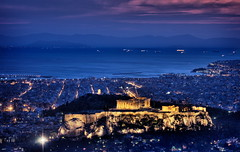 towards the acropolis -- that-a-way (helen sotiriadis) Tags: pink blue light sunset sea yellow architecture night canon landscape boats twilight cityscape purple hill athens greece acropolis hdr aegina pireaus lycabettus peloponnese thepod faliro syngrou  canonef100mmf28macrousm canoneos40d     toomanytribbles piraios