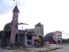 The derelict remains of the Haunted Castle dark house ride and Dante's Inferno at Miracle Strip Amusement Park, Panama City Beach, Florida (stevesobczuk) Tags:
