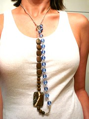 necklace no. 16 (yc-arT) Tags: etsy olivebrown beadednecklace crochetedhemp assymetricalnecklace