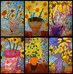 my mini van goghs... (artsy_T) Tags: art background paintings grade 2nd sunflowers impressionism vangogh foreground tempera oilpastel dimensional elementaryart sunflowersinavase andweexplorewhyartisabletoexpressemotion andthatitsoktodothatwart andthatpeoplewhoreallydontunderstandart orvangogh alwayssayvangoghisnthetheonewhocutoffhisear andyesitellthekidsthetruthabouthislife andtheyreallyenjoythat wehavealoooongtalkaboutdepressionandmentalillnes andhowitsperceivedtoday versusthen andwhypeopledothingsthatdontmakesensesometimes andtheygetit eventhoughweknowthatthereismuuuuchmoretoknowabouthim thatismuchmoreimportant