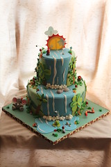 Jungle cake for Michael (Andrea's SweetCakes) Tags: flowers sun elephant leaves clouds monkey waterfall rocks snake parrot frog birthdaycake jungle palmtree hippo coconuts toadstools
