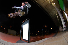 Alex Maw - Ollie over sign (Cherryrig) Tags: alex sign night nikon skateboarding flash d70s maw lazy plain cheltenham t2 skyport sb26 sb25 qflash l358 cherryrig