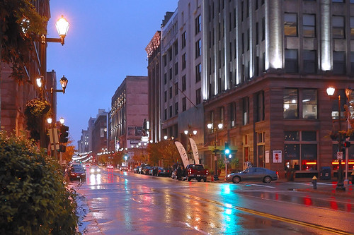 Washington Avenue, in downtown Saint Louis, Missouri, USA - at dusk in the rain 2