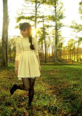 in the country and the sun is on our shoulders. (bloomingleopold) Tags: autumn green floral vintage hair handmade tennessee cream thrift heels braids 1970s hm comb minidress blackflowers polkadottights bloomingleopold