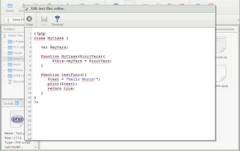 AjaXplorer source code editing