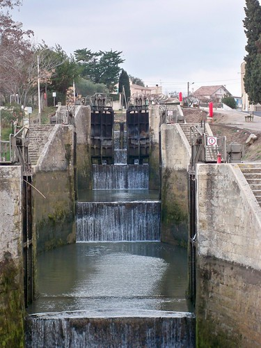 Canal du Midi the nine locks at Beziers.