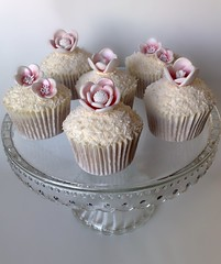 Coconut & Cherry Cupcakes (SmallThingsIced) Tags: flowers vintage cherry coconut blossoms cupcake romantic blooms fondant shabbychic smallthingsiced