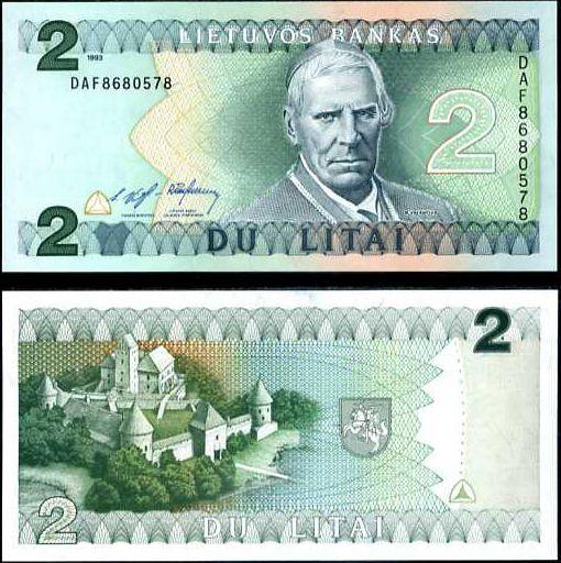 Litva - LITHUANIA 2 LITAI 1993 P 54