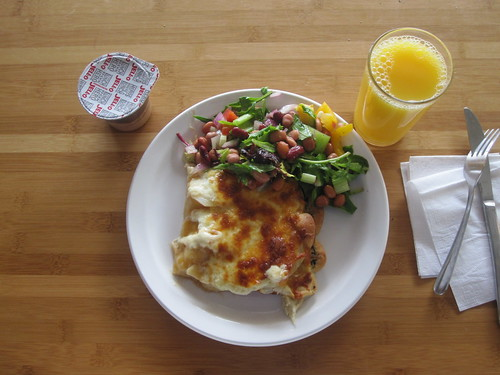 """poutine"" pizza, salad, pudding, oj from the bistro - $6"