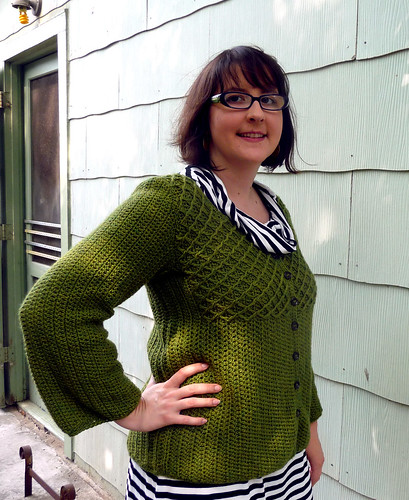 my crohet green bean cardigan
