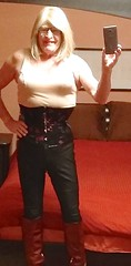 Corset  and boots 1 (donnacd) Tags: sissy tgirl clit clitty tgurl jewels dressing crossdress crossdresser cd travesti transgenre xdresser crossdressing feminization tranny tv ts feminized domina donna red dress scarf heels gold crossed legs pumps shoes panties thong polka dots white blouse earrings hair black stockings tights bra fishnet corset necklace collar he she look 易装癖 シーメー