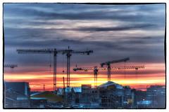 Building the future (BigWhitePelican) Tags: helsinki finland kalasatama morning sunrise clouds cranes canoneos70d adobelightroom6 niktools 2017 february