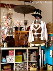 Corner in my studio May 2009 (Boxwoodcottage) Tags: mannequin hat vintage studio display space room creative silk craft vignette atelier tophats dressmakersform