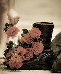 Laying of the roses (SepiaBillo) Tags: flower rose boot nikon memorial day military alabama fallen veteran comrade d3 anniston