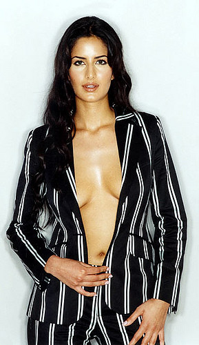 Katrina Kaif in striped two piece suit showing cleavage and navel