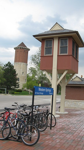A replica of a railroad crossing gate operators tower at the Metra Western Springs commuter rail depot. Western Springs Illinois. Early May 2009.