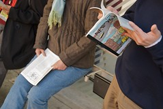 two people reading the New Yorker while waiting for the bus (Steve Rhodes) Tags: sf sanfrancisco california ca june reading newyorker muni castro 2009 sfist june09 june2009 fictionissue