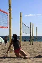 IMG 290 (chrisamichaels) Tags: ocean sea sun net beach set clouds ball eos hit jump sand play pacific outdoor pass bikini spike volleyball manhattanbeach swimsuit bump serve canon40d