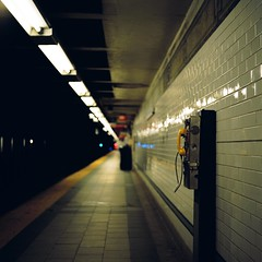 Line Connected (Inside_man) Tags: newyork reflection texture 120 6x6 tlr film colors mediumformat subway colorful minolta bokeh manhattan telephone platform citylife fluorescent autocord portravc minoltaautocord lineconnected