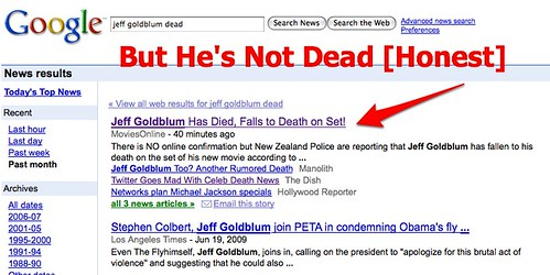Jeff Goldblum Is NOT Dead (Despite What Google Says) - Search Engine