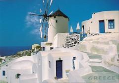 Windmill at Santorini island (Vate.J) Tags: blue sea sun white beach islands ancient windmills greece swap postcards trade