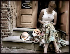 Life is Good (` Toshio ') Tags: door city people woman dog brick beagle girl alexandria animal stairs relax mammal person virginia washingtondc dc store cityscape steps oldtown lifeisgood oldtownalexandria toshio kickingback superaplus aplusphoto