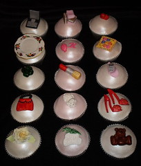 Rebekahs Cupcakes 04 (Nicole (SeizeTheCake)) Tags: pink white apple rose mobile bag cupcakes shoes teddy laptop plate books rosemary malteseterrier lipstick patchwork shamrock customcupcakes