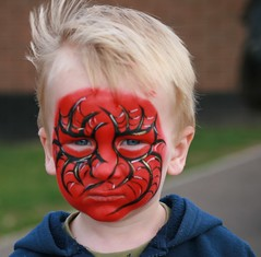 Face painting all Done - Spiderman