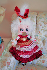 Marie Antoinette (boopsie.daisy) Tags: original white beautiful marie doll wine handmade lace burgundy deluxe rich feather royal homemade daisy antoinette lovely elegant jewels trim regal ringlets extravagant boopsie cakegold boopsiedaisy