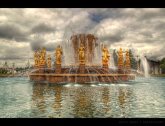 People's Friendship fountain (anton khoff) Tags: city sky water fountain clouds canon waves friendship russia moscow centre exhibition peoples hdr vvc vdnh sigma20mmf18 allrussia antonkhoff