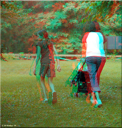 3D Photo girl red and blue
