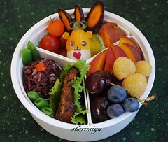 Teriyaki Salmon Bento (sherimiya ) Tags: school cute lunch kid healthy cherries tomatoes peach salmon hamster bento sweetpotato blueberries teriyaki obento peapods forbiddenrice goldenraspberry goldenbeets purplecarrots sherimiya