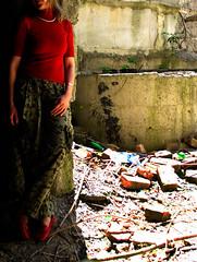 Between the bricks (Che-burashka) Tags: red urban house girl ruins hand urbandecay bricks ukraine rings olga gettys redshoes ruined sx vinnitsa contsruction gettyskn