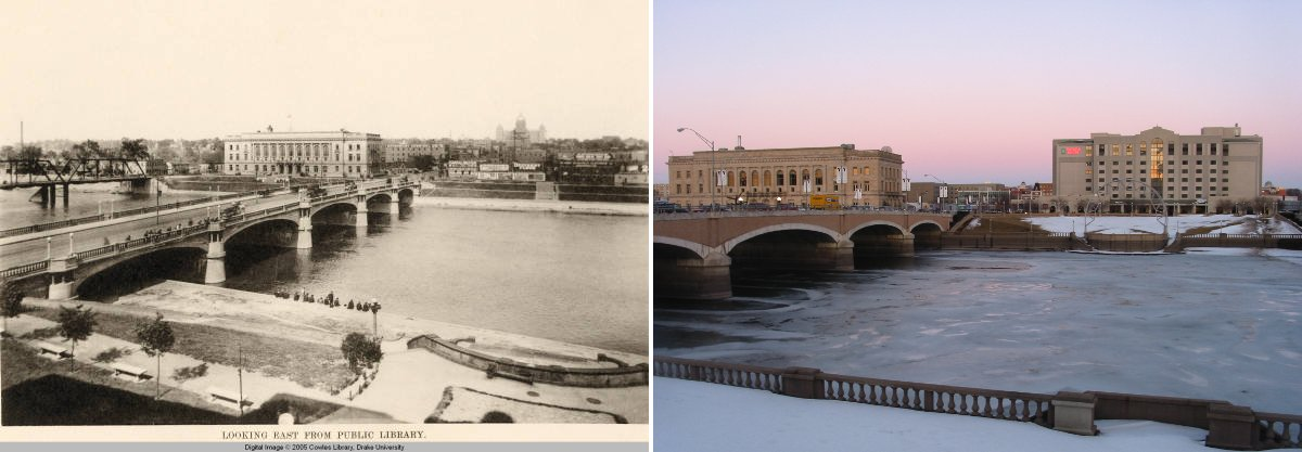Looking East from Des Moines Public Library, 1914 and 2009