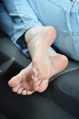 Barefoot in the Car (Artistic Feet) Tags: cute sexy feet girl car female french asian nice toes pretty legs artistic pale jeans nails barefoot heels heel pedicure sole soles ankles