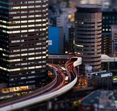 miniature Osaka (Paul Hillier Photography) Tags: city sunset japan night miniature osaka umeda tiltshift skybuilding