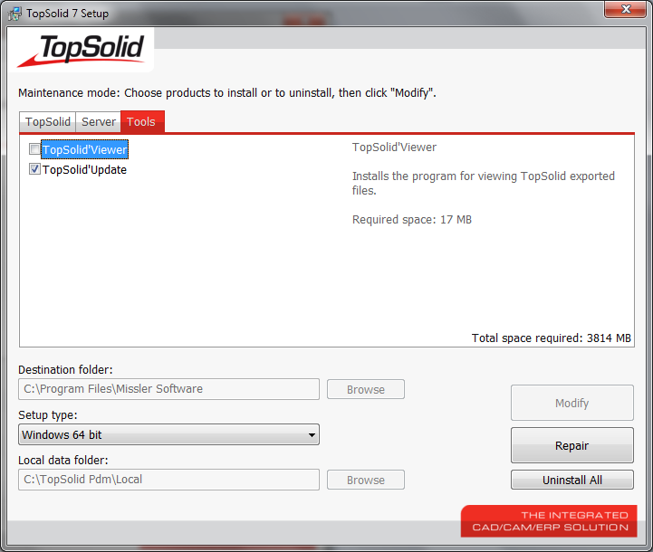 Setup Screen TopSolid V7.3