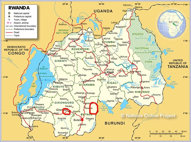 Map showing Rwanda and surrounding countries with international borders,
