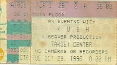 10/29/96 Rush @ Minneapolis, MN (Ticket)