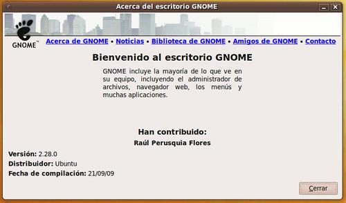 GNOME 2.28.0 en Ubuntu 9.10 Karmic Koala