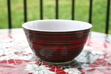 Pyrex 402 Terra-Like Orange Stripe Bowl Resized