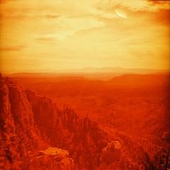 The American Southwest - Not far from Mars...  Includes UFO! (kevin dooley) Tags: road camera mars orange mountain southwest tree film rock analog america forest 35mm lens flying lomo xpro lomography cr