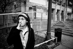(Rodrigo Daguerre) Tags: street toronto fall museum stairs hoodie entrance smoking gary rom
