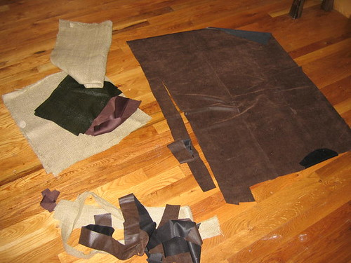Cutting out fabric for the Viking costumes