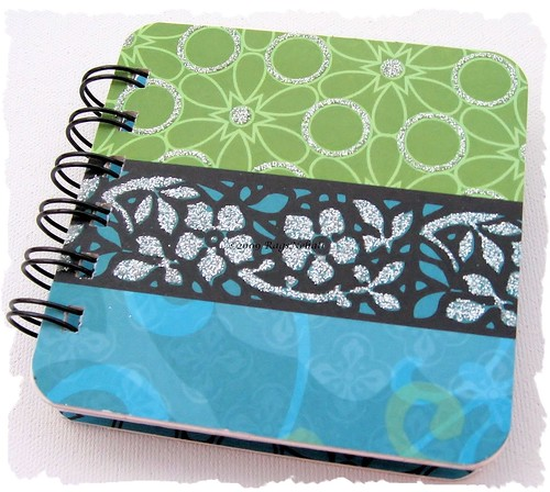 Blue Green Silver Post It Holder