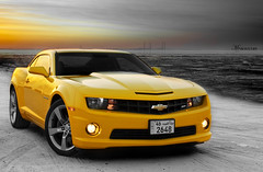 Camaro SS..  Explored #6 !! (mr.alsultan) Tags: light sunset sea sun black chevrolet beach car yellow speed canon rebel sand gm ss camaro bumblebee kuwait v8 2010 xsi q8 camaross 400hp generalmotor 450d anawesomeshot camaro2010 camaross2010