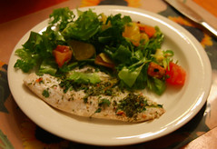 Zander with salad